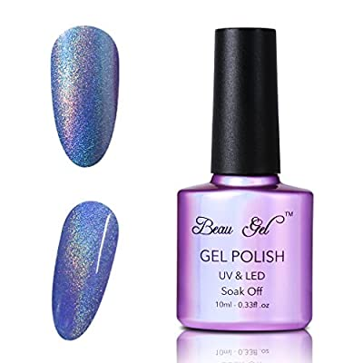 Beau Gel 4pcs Colourful Rainbow Holographic Nail Polish Set Soak off Manicure Varnish High Gloss Nail Art Starter Kit 10ml