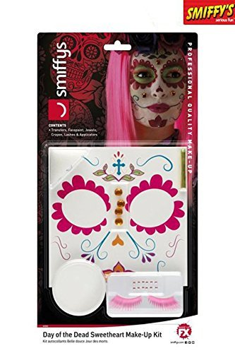 Kostüme Muertos Make Los Up Dia De (Smiffy's 44964 - Damen Tag der Toten Sweetheart Make-Up Set, Sticker, Gesichtsfarbe, Schmuck, Wimpern und Applikatoren,)