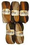 ALIZE Juego de 5ovillos de lana con hilo de tricotar, en un diseño degradado multicolor, con un...