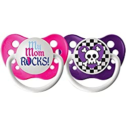 Ulubulu Expression Pacifier Set for Girls, My Mom Rocks and Purple Skull Checker, 6-18 Months by Ulubulu