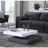 VEGAS Table basse carrée pivotante 75cm blanc/gris...