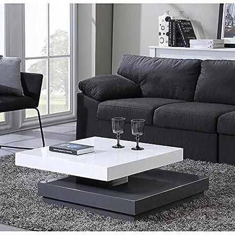 VEGAS Table basse carrée pivotante 75cm blanc/gris