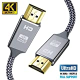 4K HDMI Cable 2M HDMI Lead-Snowkids Ultra High Speed 18Gbps HDMI 2.0 Cable 4K@60Hz Compatible Fire TV, 3D Support, Ethernet Function, Video 4K UHD 2160p, HD 1080p, 3D - Xbox PlayStation PS3 PS4 PC ect