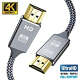 Cable HDMI 4K 2 Metros, 2.0 Cable HDMI de Alta Velocidad soporta 4K Ultra HD, Ethernet,3D,2160P, 1080P,BLU-Ray,Xbox 360 TV, Playstation PS3,PS4, HDTV,Arco,HDCP 2.2,HDR