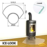 Bodenplatte Kamin geteilte Glasplatte Ice-Look Saisonplatte Ofen Vorlegeplatte Kaminbodenplatte Winnipeg