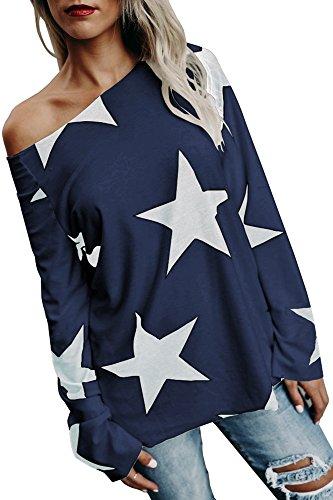 Damen Tops Oberteile lang Pullover mit Sternenmuster Schrägstrich Schulter Trägerlos T Shirt Langarmshirt Lässige Casual Basic Blau 40-42/L (Lange Leggings Pullover)