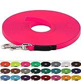 Schleppleine aus 19 mm breiter BioThane, Neon Pink, 5m lang, genäht, 25 Farben, 1-30 Meter Länge