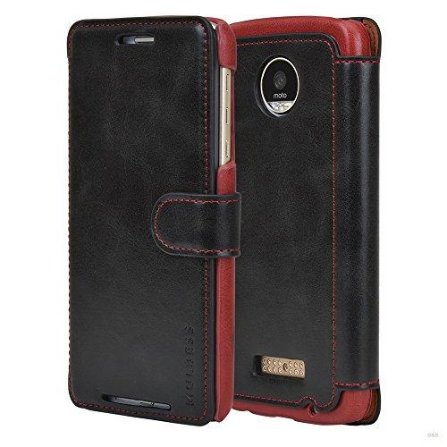 Mulbess Handyhülle für Motorola Moto Z Play Hülle Leder, Layered Dandy Leder Flip Tasche für Motorola Z Play SchutzTasche Cover Etui, Schwarz