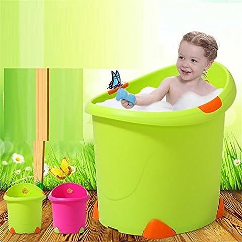 SHISHANG Kinder vertikale Badewanne + Bad Hocker Mutter und Kind versorgt groß für rutschfesten Umweltschutz Baby Babybadewanne Badewanne Waschbecken 0-12 Jahre alt Größe 56x58x59cm , green
