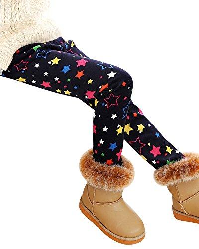 Filles Colorées Leggings Longs Legging Enfants Hiver Chaud Pantalons Noir Étoile 120