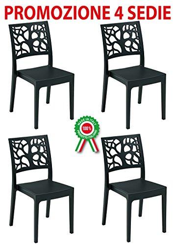 4Stück Sessel Stuhl Teti-Kunstharz aus hartem Kunststoff schwarz anthrazit stapelbar Rückenlehne mit Baum-Bar Restaurant für Garten Pub (Stapelbar Baum)