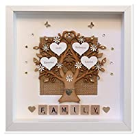 Personalised Shimmer Scrabble Family Tree 3D Box Picture Frame - Other Colours To Choose