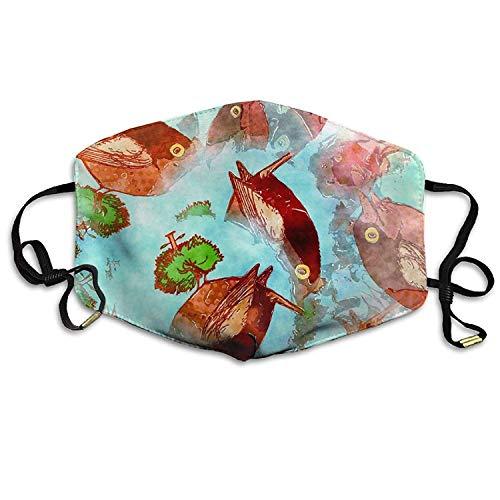 Rote fette Fische Wiederverwendbare Anti-Staub-Gesichtsmaske, staubdichte, atmungsaktive Außenmaske aus Polyester -