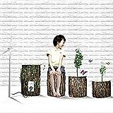 YJF Tapeten-Wand-Platten des weißen Ziegelstein-3D ziehen und haften für Wohnzimmer-Schlafzimmer-Hintergrund-Wand-Dekoration ab