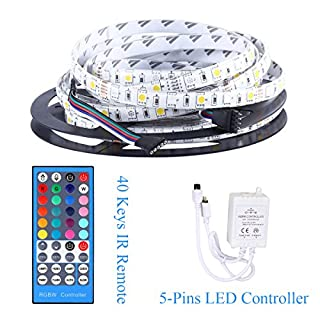Allbuymall LED Strip Lights, 5m 5050 RGB+Warmweiß Wasserdichte 300 LEDs Streifen Kit LED Band Leisten, LED Lichterkette, LED Lichtband mit 44 Tasten Fernbedienung und Mini Kontroller, DC12V