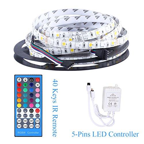 Allbuymall 16.4ft/5M SMD 5050 Wasserdichte Streifen SET,RGB+Kaltweiß Flexible Einzelfarbe LED Stripe,LED Lichtleisten,LED Band,LED Leisten Supper Lichtleistung 300 LEDs DC 12V 60 LEDs/m inkl. Controller & Fernbedienung