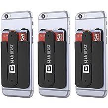 Gear bestia 3Pack teléfono celular cartera tarjeta de Crédito ID soporte con soporte para las mujeres y hombres, en tipo cartera para todos los teléfonos móviles como iPhone X 876s 6Plus Galaxy S8Plus S7S6edge Nota 85 negro