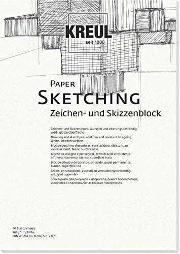 KREUL 69001-Paper Sketching, Caracteres y Bloc de Dibujo, DIN A5, 20Hojas