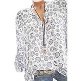 VJGOAL Damen T-Shirt, Damen Mode Kurzarm V-Ausschnitt Spitze Gedruckte Spitze Tops Sommer Lose T-Shirt Bluse (S/36, Y-Knopf-Weiß)