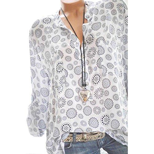 VJGOAL Damen T-Shirt, Damen Mode Kurzarm V-Ausschnitt Spitze gedruckte Spitze Tops Sommer lose T-Shirt Bluse (XL / 42, Y-knopf-weiß)