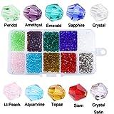 1000 Stück 4mm Facettierte Doppelkegel Kristall Glas Perlen Glasperlen Kügelchen für DIY Schmuck Halskette Armband Basteln (4mm)
