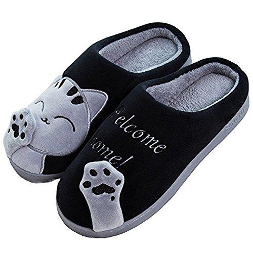 Damen Katze Pantoffeln, Herren winter Warme Baumwolle Hausschuhe mit Cartoon Rutschfeste Kuschelige Home Slippers, Schwarz, 42/43 EU