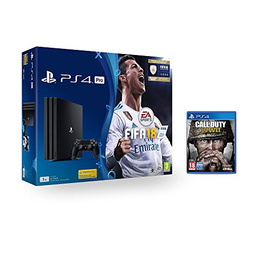 Sony PlayStation Pro (1TB) with FIFA 18 + Call of Duty: WWII (PS4)