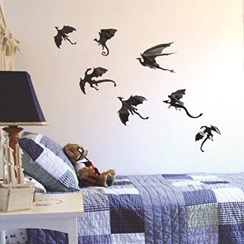 Obrid#e5on 7 stücke 3D Dinosaurier Drache wandaufkleber DIY Wohnzimmer Halloween Party Aufkleber Decor (Sexy Dämon Drachen Kostüm)