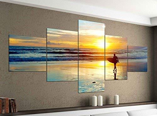 Acrylglasbilder 5 Teilig 200x100cm Meer Surfer Surfen Sonnenuntergang Druck Acrylbild Acryl Acrylglas Bilder Bild 14F294, Acrylgröße 11:Gesamtgröße 200cmx100cm