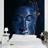Apalis Vliestapete Delhi Buddha Fototapete Quadrat | Vlies Tapete Wandtapete Wandbild Foto 3D Fototapete für Schlafzimmer Wohnzimmer Küche | Größe: 192x192 cm, blau, 95293