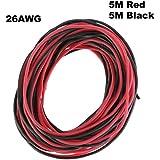 Ycnk 26AWG Jauge Fil Silicone 10m souple et flexible en cuivre Fil électrique résistant aux températures élevées (5m Noir et rouge 5m)