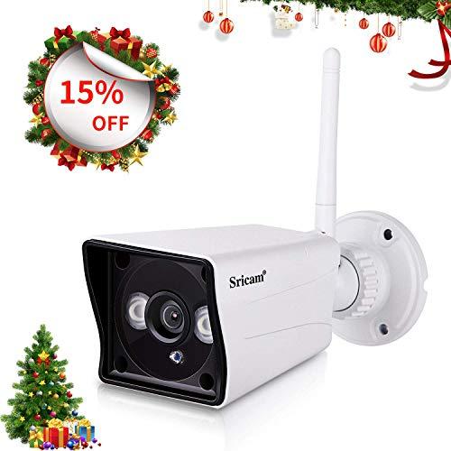 Sricam Überwachungskamera Aussen WLAN IP Kamera 1080P Wetterfest Kamera Outdoor mit Bewegungserkennung/Nachtsichtfunktion/128G TF Karten Kompatibel mit Smartphones/Tablets/PC Deutscher Anleitung