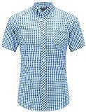 JEETOO Klassics Herren Slim Fit Bügelleicht Kariert Kurzarm Bluse Freizeit Hemd Baumwolle Button-down Super Modern super Qualität Shirt (XXX-Large, Blau und Weiß)