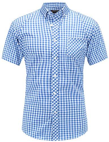 JEETOO Klassics Herren Slim Fit Bügelleicht Kariert Kurzarm Bluse Freizeit Hemd Baumwolle Button-down Super Modern super Qualität Shirt (XX-Large, Blau und Weiß) (Blau Streifen Weiß Shirt)