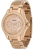 Fossil Damen-Armbanduhr Riley Analog Quarz One Size, rosé, rosé