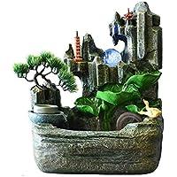 Fuente de agua de interior Fuente de resina de rocalla que fluye fuente Fuente de agua Feng Shui Lucky Wheel Oficina de escritorio Fuentes Adornos decoración del hogar de escritorio (Color: Con niebla