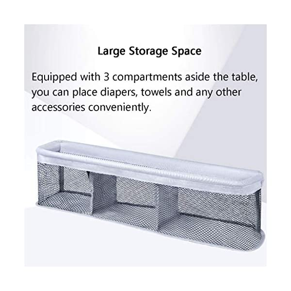 Folding Baby Changing Table for Small Spaces, Portable Nursery Infant Diaper Massage Station Dresser for Household Travel, Grey, 0-2 Years Old (color : B) AA-SS-Changing Table Stable Construction: Sturdy metal frame keep the table stable. While the other part is made of durable and wearable Oxford cloth. Folding: Easily fold it if you finish all the tasks! With its space saving design, you can store it behind a door. Large Storage Space: Equipped with 3 compartments aside the table, you can place soaps, towels and any other accessories conveniently. 7