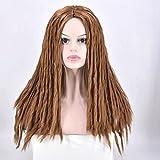 Full Dreadlocks negro mujer peluca de pelo largo peluca de pelo rizado rollos Twist mechones sintético para mujer afroamericana