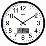 Komo con Movimento Silenzioso Sweep Orologio da parete creative camera da letto soggiorno moderno e orologio al quarzo,12 pollici,calendario in metallo - NERO E