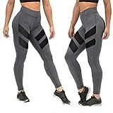 Damen Streifen Mesh Patchwork Yoga Hose, Siswong Hohe Taille Sport Fitness Running Jogging Dehnbar Cropped Leggings (S, Grau)