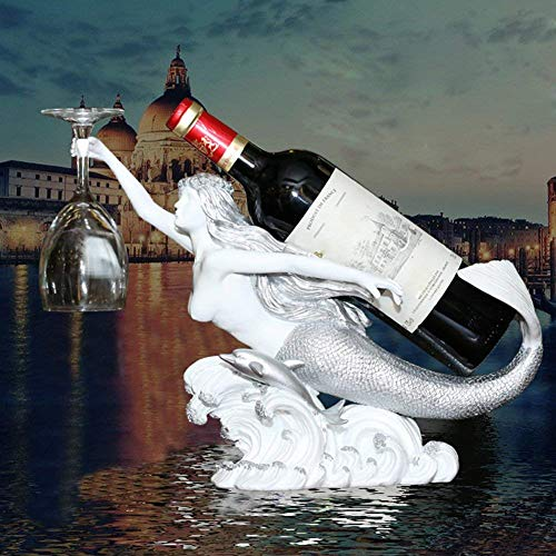 Mermaid Wein Regal Flasche Halter Statue Steht Hütte Und Lodge Dekorative Weinregale & Geschenke,Color1