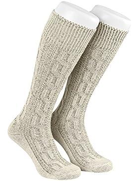 Lange Herren Trachtensocken, Kniebund Socken, Strümpfe für Ihre Lederhose, 1 Paar, Zopf Socken meliert, Gr. 41-47