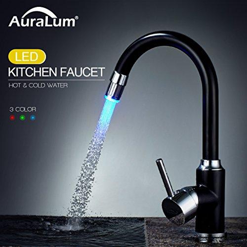 Auralum - Küchenarmatur mit LED-Beleuchtung und Schwenkauslauf, Schwarz