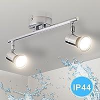 Gr4tec Lámpara de techo Luz de Baño LED con Focos Giratorios IP44 Impermeable Incluye 2X Bombillas GU10 4W 230V 2800K Blanco cálido 400lm 82Ra Metal Cromo Longitud 32cm