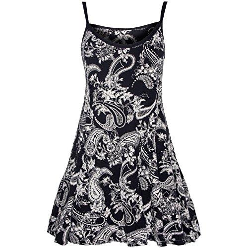 Womens Riemchen Ärmellos Damen Gedruckt Ausgestellt Weste Swing Kleid Top Übergrößen - Paisley - Bedruckt Swing Kleid Übergrößen, Übergröße - DE 44 (Print Top Paisley)