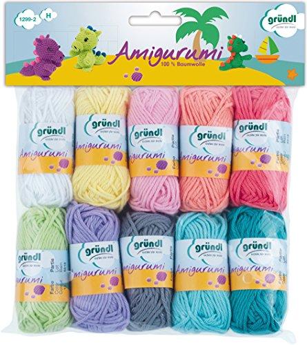 Gründl Amigurumi - Set II Wolle, Baumwolle, bunt, 19.5 x 18 x 2.6 cm -