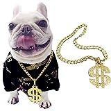 Hundehalsband, Legendog Hundehalsband Kette Dollar Anhänger Metall Goldener Hund Halskette Komisch Pet Schmuck Halskette für Hunde Welpen