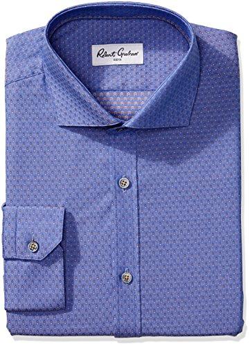 Robert Graham Herren Hemd Regular Fit Jacquard Spread Kragen - Blau - 39 cm Hals 86 cm- 89 cm Ärmel -