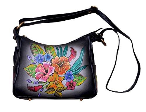 Nappa Leder Schulter Tote (Niarvi Rising Blumen-Leder- Handgemalte Handbag)