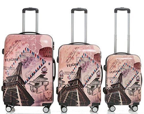 Reisekoffer 2060 Hartschalen Trolley Kofferset in 12 Motiven SET--XL-L--M-- Beutycase (Tower, 3er Set(XL+L+M))